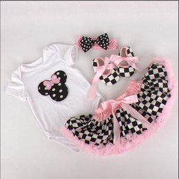 Wholesale baby Minnie Mouse Sweet Cake clothes Tutu Birthday clothing for girls newborn jumpsuits bow headbands plaid pettiskirt shoes outfits