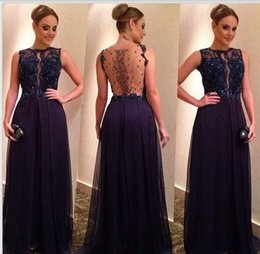 Wholesale 2016 Evening Gowns Jewel Sleeveless Zipper Back Formal Dresses Tulle Appliques Beaded Sequins A Line Sweep Train
