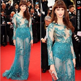 Wholesale Wow Red Carpet Long Sleeve See Through Celebrity Dresses Teal Bling Crystal Beading Pageant Prom Dreasses