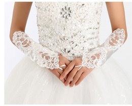 Wholesale 2015 New Arrival Bridal Gloves Luxury Lace Flower Glove Hollow Wedding Dress Accessories White Bridal Gloves