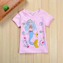 Wholesale Children s High Quality Brand Cotton Little Mermaid Print Cartoon T shirt Children Shirt Girls Tops Shirt Girls T Shirt