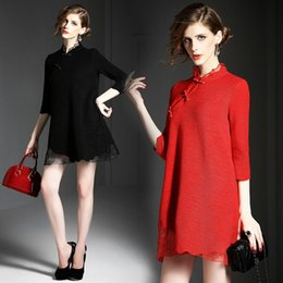 Wholesale 2015 fall and winter clothes new ladies temperament wood ear Pankou irregular stitching wool woolen embroidery short dress