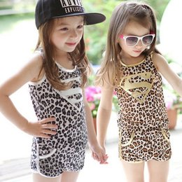 Wholesale 2015 Summer Children Clothing Set Baby Girls Kids Clothes Children Leopard suit