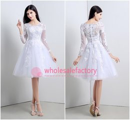 Wholesale New Real Model White Ball Gown Wedding Dresses Sexy V Neck Long Sleeve Appliques Lace Knee Length Short Beach Bridal Gowns CPS119