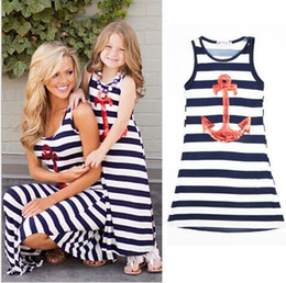 Wholesale mother daughter dresses Navy striped summer style mom and me clothes Sequin Anchor sleeveless dresses Polyester family look