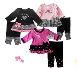 Wholesale Spring autumn baby clothes pretty bows girls suits Leopard T shirt pants years children clothes in stock set A20