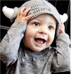 Wholesale Cute Baby Girls Boy Gray Horn Newborn M Knit Crochet Clothes Photo Prop Hat Cap Costume Free shpping