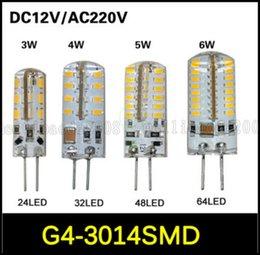 G4 ampoules led 3W 4W 5W 6W SMD 3014 LED lampe de la lampe en cristal DC 12V / AC 220V Silicone Corps Ampoule Lustre LED 24LED 32LED 48LED 64LEDs LLWA027