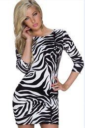 Wholesale Ladies Sexy V Back Zebra Print Club Mini Dresses Autum Spring Women Clothing Cheap Clothes China One Size