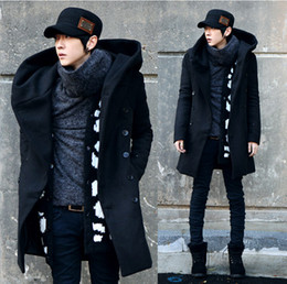 Wholesale 2015 New Brand Winter Men s Wool Pea Long Coat Double breasted coat Korean Men s Thick Hooded Long Section Warm Wool Jacket Trench Coats