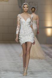 Wholesale 2015 Vestidos de boda cortos atractivos de la manga del Appliques del V Cuello envuelven los mini vestidos nupciales de la envoltura de la cremallera por encargo W833