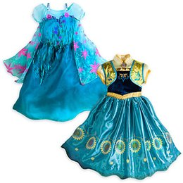 Wholesale NEW MOVIE STAR Frozen Clothes Cosplay Elsa Princess Dress kids Short Sleeve Cosplay Dresses Party Cute Gown