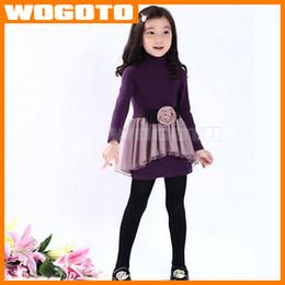 Wholesale 2016 Spring Autumn Kids Girl s Dresses Flowers Bubble Skirt Add velvet skirt With Long Sleeve Pure Cotton Princess Dress