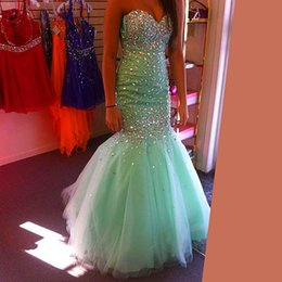 Wholesale Mint Green Mermaid Prom Dresses Sleeveless Sweetheart Crystal Formal Evening Celebrity Gowns Vestido De Festa Teens Pageant Runway New