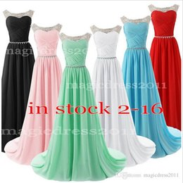 Wholesale IN STOCK Prom Evening Dresses Occasion Dress A Line Sheer Neck Crystal Pink Blue White Black Red Mint Beaded Long Formal Party Gowns