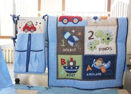 Wholesale 2015 Hot cotton pieces baby bedding set for boys quilt bumper mattress cover Bed skirt nappy bag