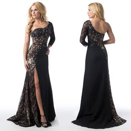 Wholesale 2016 Sheer Lace Black Evening Dresses with One Shoulder Beaded Chiffon Long Sleeve Side Slit Backless Formal Gowns Prom Dress