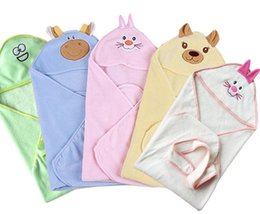 Wholesale Baby Coral Velvet Blankets Newborn Winter Super Soft Bear Rabbit Cartoon Animals Hooded Baby Sleeping Blanket Bags Hot Selling J3039
