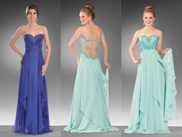 Wholesale 2015 Cute Prom Dresses Beading Royal Aqua Chiffon Prom Gowns with Side Cut Back and Sweetheart Neckline and Sleeveless Sweep Train