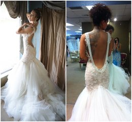 Wholesale 2015 Galia Lahav Sexy Spaghetti Wedding Dresses Appliques Lace Backless Ruffles Tulle Court Train Gorgeous Mermaid Bridal Gowns