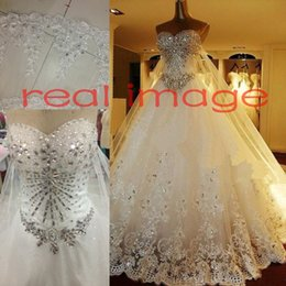 Wholesale 2015 Luxury Crystal Ball Gown Wedding Dresses Sweetheart Strapless Tulle Satin Backless Bridal Wedding Gowns With Long Big Cathedral Train