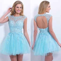 Wholesale 2015 Charming Amazing Crystal Bead Sheer Crew Short Mini Corset Homecoming Dresses Short Mini Sexy Blush Prom Cocktail Dress Backless Gowns