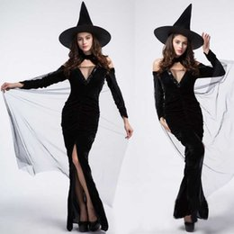 Wholesale Magic Witch Cosplay Black Long Dress Hat Halloween Performance Game Anime Costumes Props Set Christmas Party Women Favors SD609