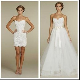 Wholesale 2016 Cheap Over Skirts A Line Wedding Dresses With Detachable Train Sweetheart Full Lace Plus Size Garden Country Bridal Wedding Gowns