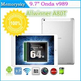 Nouvelles de 9,7 pouces Tablettes Onda v989 Allwinner A80T Android 4.4 Octa Core Tablette PC Cortex A15 Air Retina de 2048*1536 64 cœurs de 32 go 8.0 MP 002568