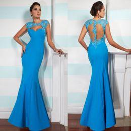 Wholesale tarik ediz Dresses Mermaid Evening Gowns Crew Floor Length Elastic Lycra Lace Red Carpet Dresses W4127
