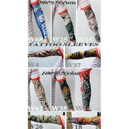 Wholesale High Quality Nylon Elastic Fake Tattoo Sleeves Designs Anti UV Arm Stockings Tattoo Wears Fishing Driving Sleeves Unisex Up to