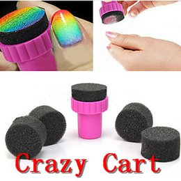 Wholesale Nail Art Makeup Styling tools pc Manicure Sponge Nail Art Stamper Tools with Sponge Nail for Gradient Color