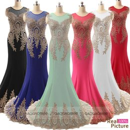 Wholesale Sheer Neck Prom Evening Dresses Lace Embroidery Real Image Red Mint Black Fuchsia Royal Blue Formal Wedding Party Gowns Arabic India