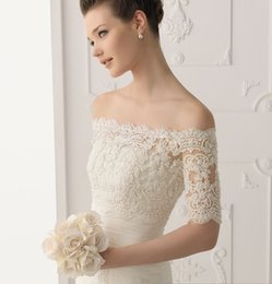 Wholesale Custom Made White Ivory Long Sleeves Bridals Boleros Off the shoulder Lace Bridals Jacket Illusion Wedding Wraps