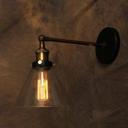 Industrial Wall Mounted Lights: Wholesale-Vintage Wall Lamp American Style Industrial Edison Lamps Beside  Mounted Glass Iron Art Deco RH Loft Lighting For Kitchen Bar wall mounted  lights ...,Lighting