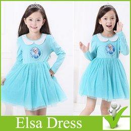 Wholesale Elsa Dress with Long sleeves Elsa princess Dress Blue Girl Party Dresses Elsa Skirt Elsa dress Pretty Autumn Dress shipping free