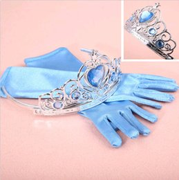 Wholesale Frozen Elsa Inspired Girls Dress Up Gloves and Tiara Crown Costume Accessories DH04