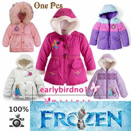 Wholesale One Frozen Down Coat cotton padded Puffer Jacket Girl Winter Fleece Outerwear Anna and Elsa Children Hooded Coat Kids Down Parkas MYF04