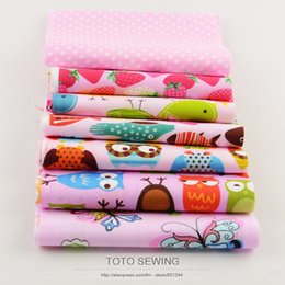 Wholesale 2015 New Baby Pink Owls Cartoon cotton fabric pre cut bundle for Bedding set sewing quilting patchwork clothing CMx50CM
