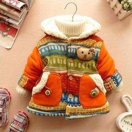 Wholesale 2015 retail Baby Girl Cute D Bear Bohemia Pocket Winter Warm Jacket Gown Kids Outwears Coat
