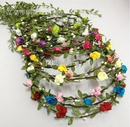 Wholesale Fairy style Wedding bridal girl head flower crown rattan garland Hawaii flower head wreath romantic colorful round Tiaras Hair Accessories