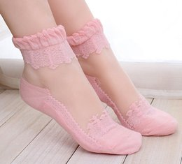 Wholesale Baroque Women Lace Stocking Socks Lady Gauze Yarn Woman Sock Lady Long Tulle Socks White Purple Khaki Gray Pink Blue Black D4415
