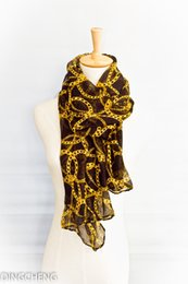 Wholesale The spring of the new fashion women s Scarf Golden chain pattern Shawl Chiffon tippet Polyester cm cm DJ15S018