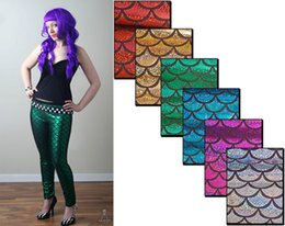 Wholesale 5pcs Mermaid metallic sparkle fish scale leggings kawaii pants kawaii