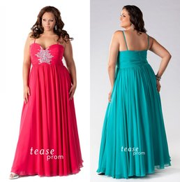 Wholesale Plus Size Dresses Cheap Long Floor Length Prom Party Gowns Spaghetti Straps Pleated Chiffon Crystal Beads Women s Evening Formal Wear