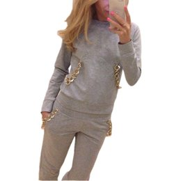 Wholesale Women s Tracksuit Sports Suit Autumn Winter Sweatshirt pant Chains Hoodies Casual Jogging For Women Piece Set Pullover
