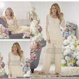 Мать невесты брючный костюм 2015 выполненный на заказ Vintage Формальные Плюс Размер увенчаны длинными рукавами шифон кружевном платья для свадьбы