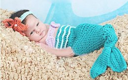 Wholesale Newborn Crochet Photography Props Man made crochet outfits Accessories Handmade Little Mermaid Knitted Costume Photo Prop