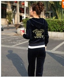 Wholesale 2015 Women s Velvet fabric Tracksuits Velour suit women Sport Track suit Hoodies Pants