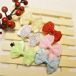 Wholesale Lovely baby Bow hair clip accessories new Alloy soft fabric children holiday gift hair clips Headdress flower Mixed color